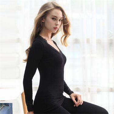 苏吉思 性感蕾丝花边 v领修身 秋冬棉质美保暖内衣套装女LP-45