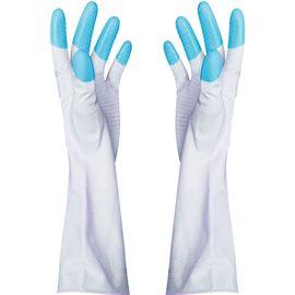 家杰 洗碗洗衣橡胶手套 耐用防水乳胶手套 胶皮手套 家务手套 粉蓝绿三色随机发货 JJ-401