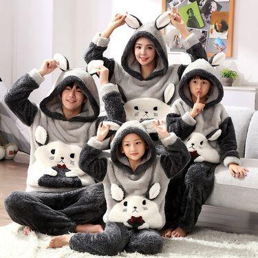 苏吉思 冬季亲子睡衣加厚长毛绒儿童家居服法兰绒卡通中大童睡衣保暖套装LP-61