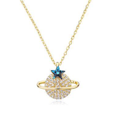 静风格 采用施华洛世奇元素水晶项链S925银星球颈链简约个性锁骨链A1810001
