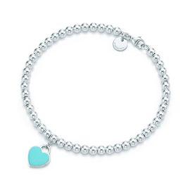 蒂芙尼Tiffany&co. 女款镶蒂芙尼蓝珐琅925银心形手链手环 GRP03577 美国官网款 XUNTAO