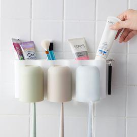 家杰  免打孔静电吸壁式壁挂牙刷架组合套装 卫生间吸盘置物架牙刷杯漱口杯刷牙杯洗漱 JJ-YS319