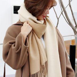 柔系 围巾女冬季长款加厚纯色百搭韩版英伦仿羊绒双面大披肩