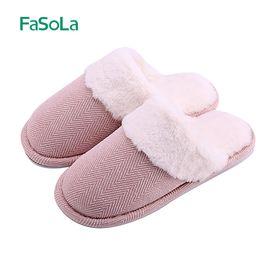 FASOLA 棉拖鞋女可爱厚底冬季情侣室内居家居包跟月子毛拖鞋男冬天