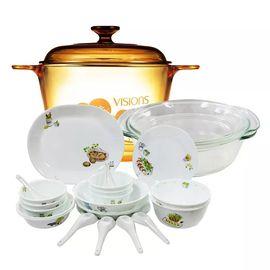 康宁 美国康宁Visions3.5L树影花色玻璃汤锅+2L百丽烘培碗+22头康宁餐具 22-OR35VR2CR