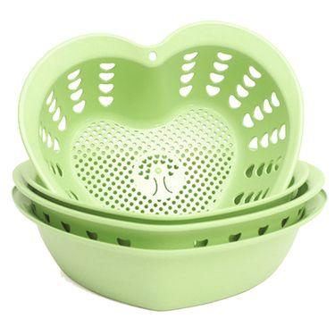 生活谷 【加厚心形4件套】双层心型洗菜篮子厨房淘米洗菜盆家用客厅创意水果盘JJ5301