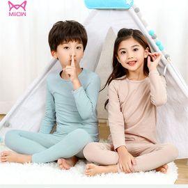 Miiow/猫人 儿童纯棉内衣套装秋衣秋裤女童保暖内衣棉质圆领打底套装