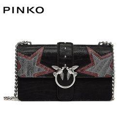 PINKO /品高 LOVE 女士时尚单肩包斜跨包燕子包 星星装饰 黑色红色灰色拼色 洲际速买