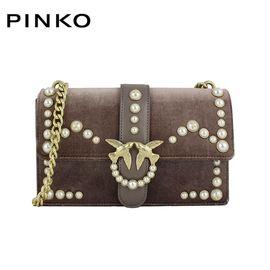 PINKO /品高 BAG LOVE系列 女士时尚单肩斜跨链条包 燕子包 丝绒珍饰装饰 灰色系 洲际速买
