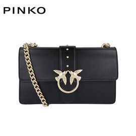 PINKO /品高 MINI LOVE 系列 女士时尚单肩斜跨链条包 燕子包 纯色金金属 黑色 洲际速买