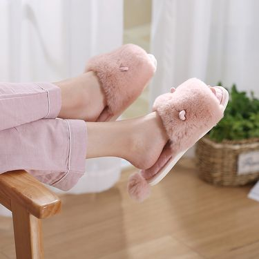 FASOLA 毛绒时尚拖鞋 卡通球球一字拖鞋 居家拖鞋 日韩甜美外穿毛毛拖鞋