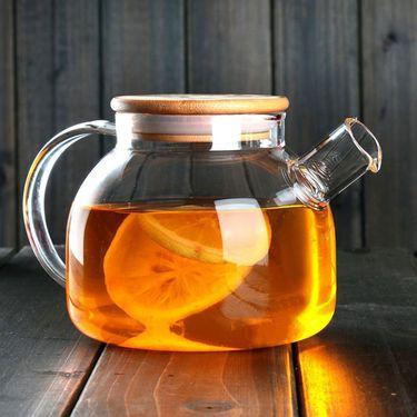 俊文轩 1000ml过滤花茶壶 竹木盖子 过滤泡茶壶 玻璃加厚耐高温水壶 家用茶具套装