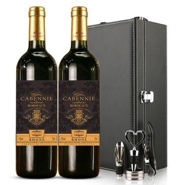 卡本妮 法国原瓶进口AOP/AOC红酒 波尔多产区 卡本妮罗讷干红750ml*2瓶 双支礼盒装葡萄酒