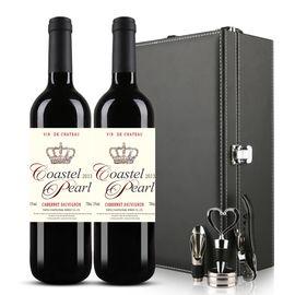 COASTEL PEARL 法国原酒进口红酒 贝勒侯爵干红750ml*2瓶 双支礼盒装葡萄酒