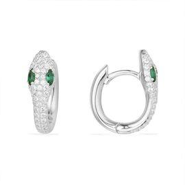 APM MONACO 女士WONDERLAND系列银镶晶钻蛇形耳环 AE10184XKG  法国进口  GUSHANGGROUP