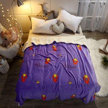 嘉若彤 2018秋冬法兰绒毛毯卡通印花珊瑚绒羊羔绒双面毯子珊瑚绒LP-195