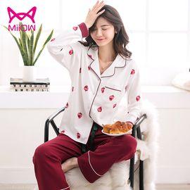 Miiow/猫人 睡衣女秋冬长袖翻领款家居服女士睡衣两件套装