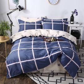 南极人 全棉AB版格纹印花四件套200*230cm 床上用品多花型可选