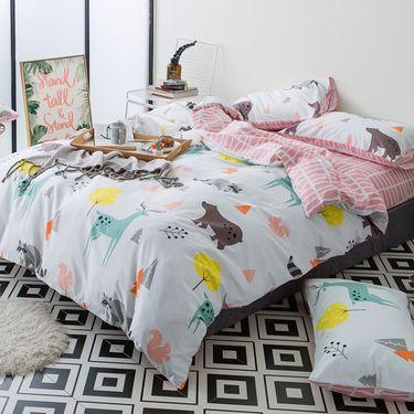 南极人 田园风格全棉活性印花四件套200*230cm 床上用品 多花型可选