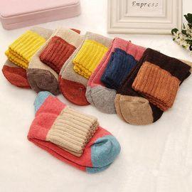 柔系 女式兔羊毛混纺长袜5双装 秋冬棉袜长袜吸湿排汗中筒袜 颜色随机