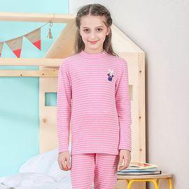 红豆 儿童棉内衣套装女童半高领棉毛衫中大童小女孩宝宝睡衣HDR27003