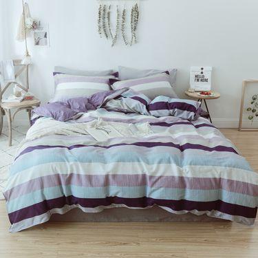 北极绒 韵律系列 舒适条纹全棉亲肤 床上四件套 2*2.3米