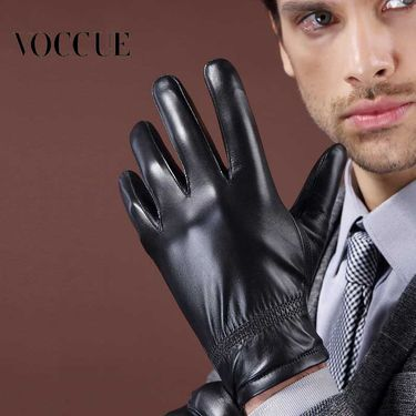 VOCCUE 真皮手套羊皮男女款冬季保暖加厚加绒冬季户外手套V1989