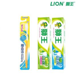 狮王 3件套 劲爽白牙膏90g*2+细齿洁力护龈牙刷