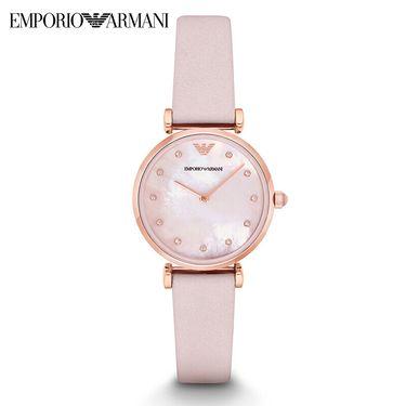 EMPORIO ARMANI 阿玛尼(Armani)手表 皮质表带时尚休闲简约石英女士腕表