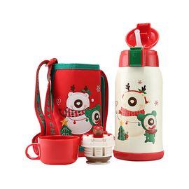 杯具熊 2019圣诞限量儿童保温杯保温壶吸管杯 630ml 一杯双盖礼盒装 全积分兑换 新年礼物 儿童礼物礼盒 年货节现货直发