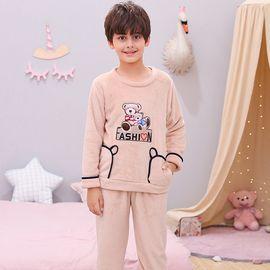 苏吉思 男女童装加厚睡衣卡通可爱两只熊法兰绒可爱套头中大童家居服套装LP-252