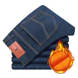 花花公子 牛仔裤男秋季新款弹力修身韩版男士宽松直筒休闲加绒裤子