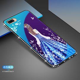麦阿蜜 oppo r11手机壳r11t保护套蓝光镶钻钢化玻璃背板防摔硬壳轻薄全包硅胶软边时尚款手机壳