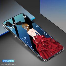 麦阿蜜 vivo Y85手机壳y85a保护套蓝光钢化玻璃背板防摔硬壳全包镶钻硅胶软边壳时尚女神新款