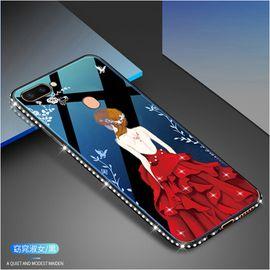 麦阿蜜 OPPO R11s手机壳r11splus保护套镶钻蓝光玻璃壳硬壳防摔轻薄硅胶软边时尚女神款潮