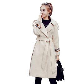 乔伊思 新品修身显瘦女款大衣中长款翻领长袖纯色大衣时尚休闲女装外套秋冬款绑带收腰女款大衣J842099