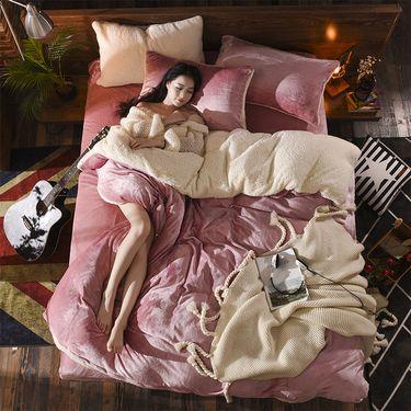 好暖 新品羊羔绒双拼四件套 法莱绒法兰绒四件套 纯色羊羔绒四件套LP-279