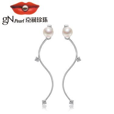 京润珍珠 婉美 925银镶白色淡水珍珠耳钉 7-8mm馒头形