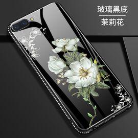 麦阿蜜 OPPO R11手机壳R11plus保护套钢化玻璃花朵彩绘全包防摔镶钻TPU硅胶软边时尚硬壳