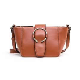 ELLE 女包新款手提包单肩大容量实用牛皮包女90252