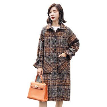 乔伊思 新品贴袋装饰单排扣长大衣 W842088