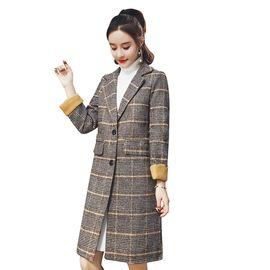 乔伊思 新品翻领双排扣格子长大衣 W842096