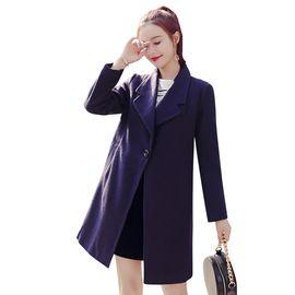 乔伊思 藏青色翻领一粒扣中长款纯色女款含羊毛大衣 X642084