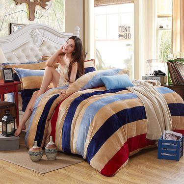 好暖 法兰绒四件套 多规格床单款法兰绒套件 被套床单四件套LP-283