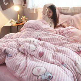 宝瑞祥 加厚保暖雪花绒四件套 萌小兔  适合1.5m/1.8m床 被套:200*  230cm 床品套件 床上用品