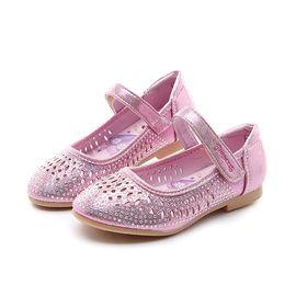 百丽 迪士尼童鞋女童皮鞋小童单鞋镂空透气小高跟公主鞋学生鞋K00215