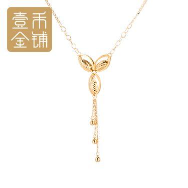 延金 三叶草转运珠时来运转吉祥如意流苏元素18k金女士项链45cm(不含延长链) 约3.86g