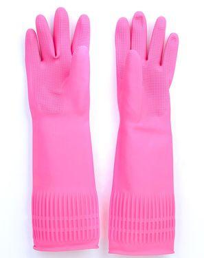 乐扣乐扣 家务手套 L号粉色乳胶无异味耐用护手家务手套