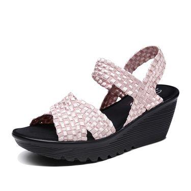 斯凯奇 女凉鞋 Skechers斯凯奇女鞋新款简约坡跟时尚凉鞋 低帮防滑休闲鞋