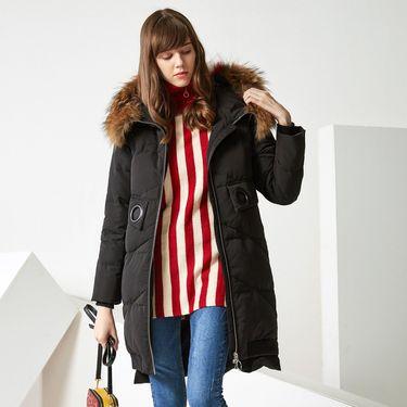 女式羽绒服 秋冬加厚保暖中长款时尚街潮大毛领羽绒服女士冬装外套